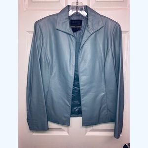 Lafayette 148 Baby Blue Leather Jacket